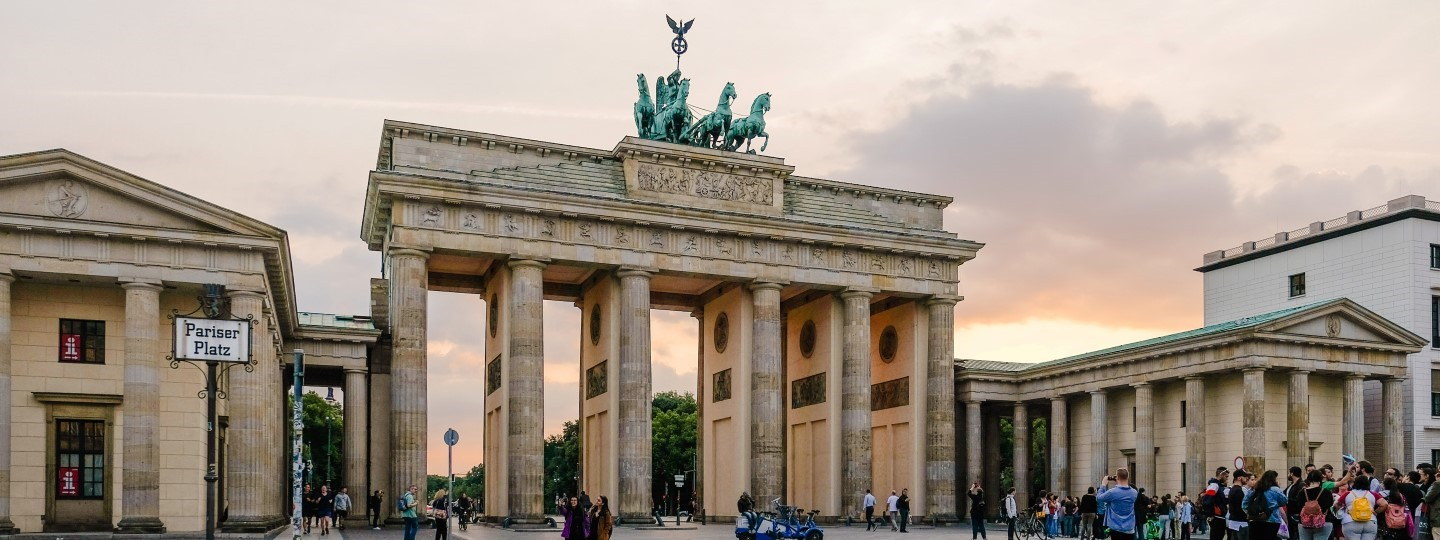 View of Brandenburg Gate in the city of Berlin in Germany.