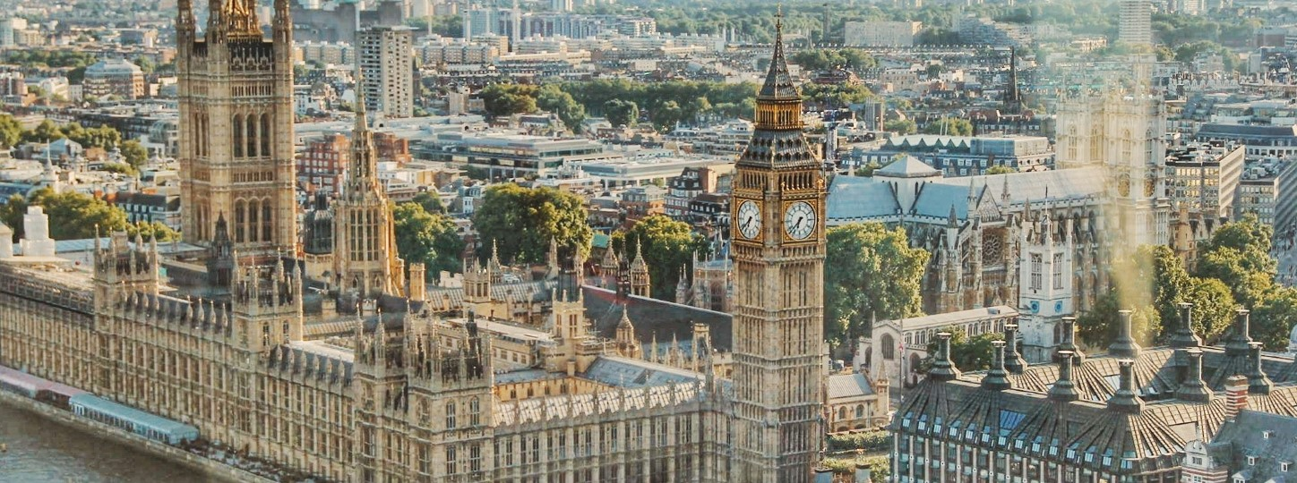 Aerial view of Big Ben clock tower and the Houses of Parliament in the city of London in England, United Kingdom.