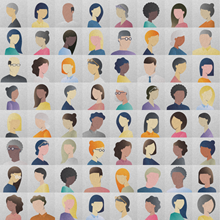 Colorful illustration of many people