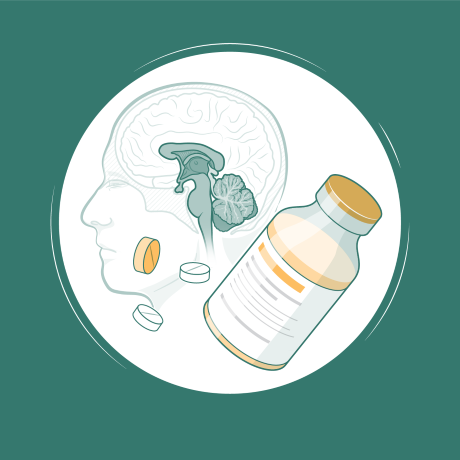 Drugs and brain Illustration