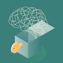 Illustration of a brain-drawing coming out of a open box