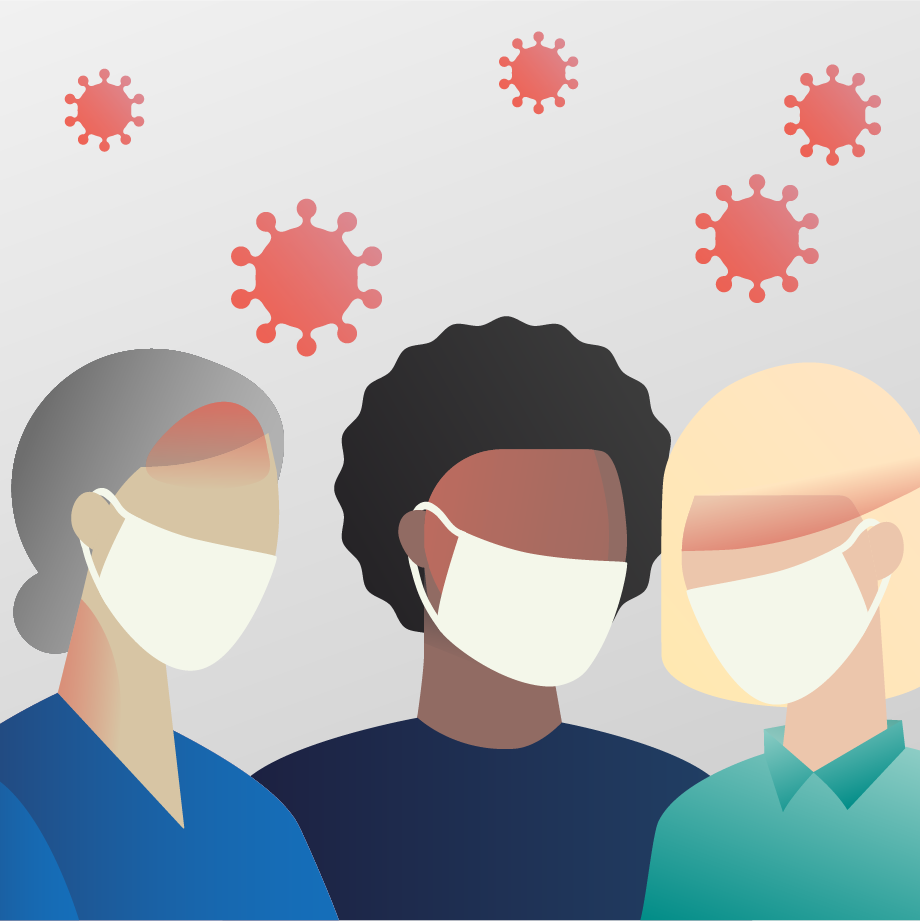 Illustration of three silhouettes of people with face masks on, with red shading on their heads to denote headache. Red viral particles of various sizes are scattered above the silhouettes.