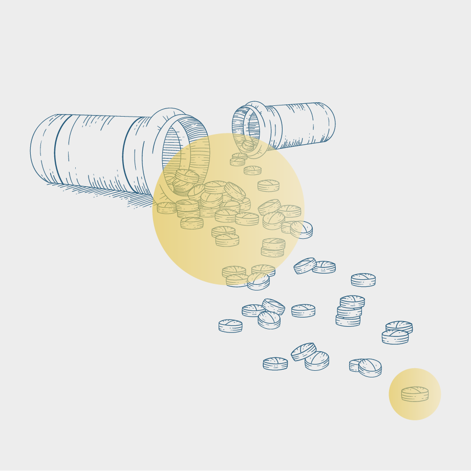 Illustration of prescription pill bottles and medication spilling out of them, overlaid with semi-transparent yellow circles.
