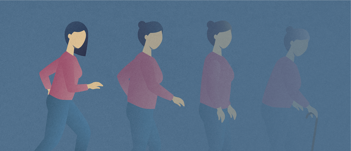 Four female silhouettes of various ages—young adult, mature adult, middle aged adult, elderly adult—that depict the progression of multiple sclerosis throughout the lifespan.
