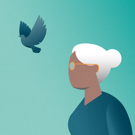Colorful silhouette of an older woman with a flying bird representing freedom from migraine pain
